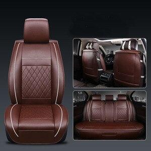 Image 5 - Cubierta Universal de 5 asientos para asiento de coche Protector de cojín delantero y trasero de cuero PU para la mayoría de los asientos del coche