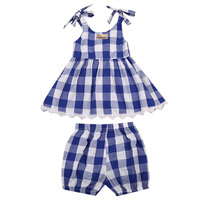 Sweet Baby Girls Kids Outfits Clothes Plaids Sleeveless Blue and White Bow Back Dress+Shorts 2pcs Set