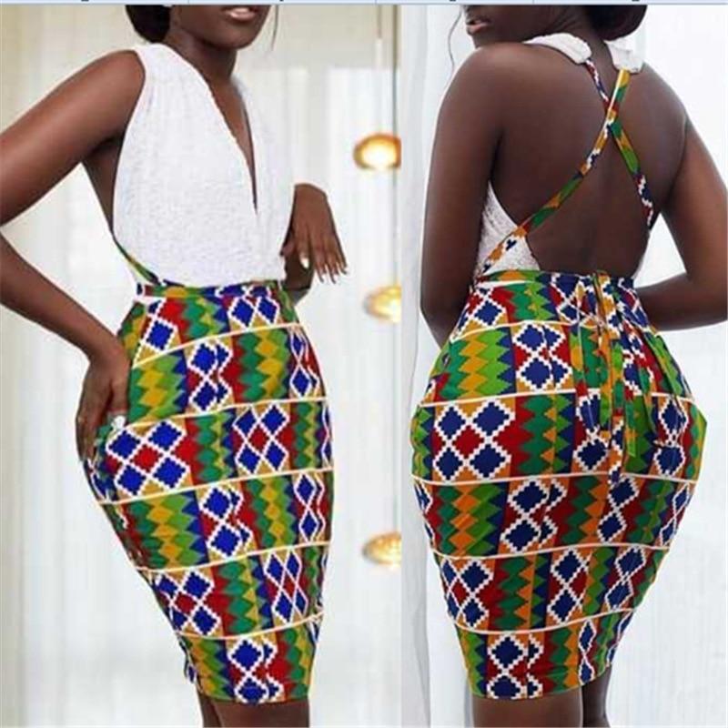 African Clothes Mesh Backless Bodycon Pencil Dress Women Mesh Patchwork Deep V-Neck Mini Slim Dress Dashiki Partyclub Plus Size