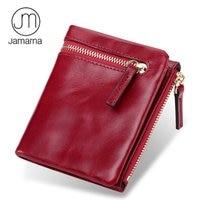 Jamarna Genuine Leather Oil Wax Short Lady Wallet Zipper Coin Purse Business Cards Holder Women Wallet