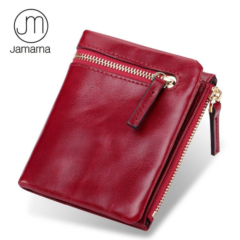 Jamarna Wallet Women Genuine Leather Small Women Purses With Double Zipper Pocket Mini Wallet Female With Coin Purse Short Red leather look mini skirt with zipper details