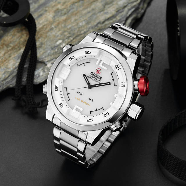 e651325c15a placeholder Men Watches OHSEN Watch Men s Luxury Brand Full Steel Quartz  Clock Fashion LED Watch Army Military