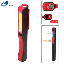Linterna LED COB portátil, luz de trabajo magnética recargable, soporte de 180 grados, linterna colgante USB para caza nocturna