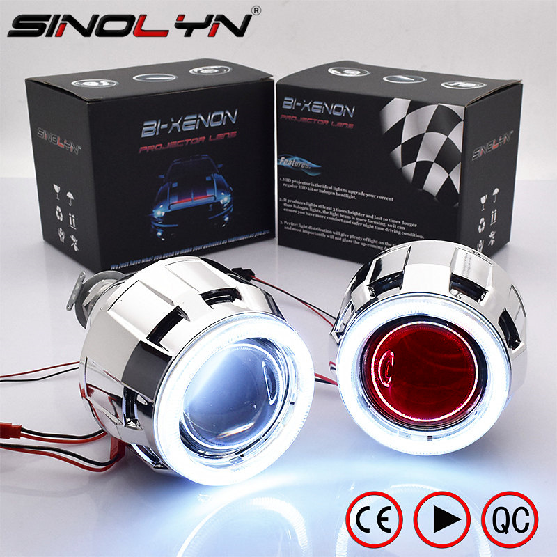 Sinolyn COB LED Angel Devil Eyes Bi xenon Lens Projector Headlight For Car Retrofit DIY W/ Daytime Running Lights 2.5'' H4 H7 royalin w2 halogen lens h1 for hid bi xenon projector headlight lenses led cob angel eyes white demon devil eyes for h4 h7 cars