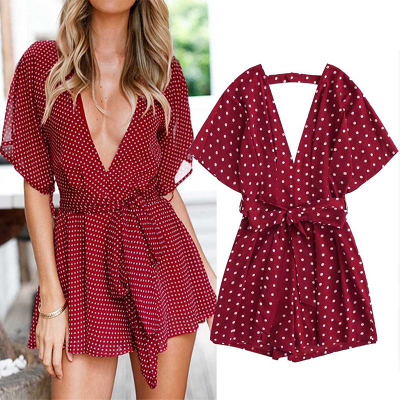 Sexy V Neck Boho Beach Romper Women Red Polka Dot Short Jumpsuit 2018 Floral Print Playsuit Summer Jumpsuits For Lady ...