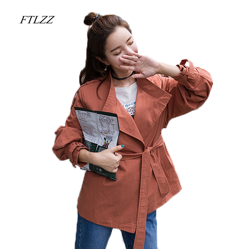 FTLZZ New Spring Fashion Autumn New Women's Casual   Trench   Coat Vintage Washed Outwear Loose Clothing Clothes For Lady With Belt