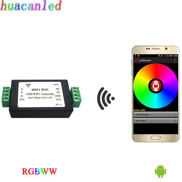 Rgbww tira WiFi, regulador del rgb, comunicarse con el teléfono Android a través de WLAN para atenuar, salida 5 rutas RGBWW de datos.