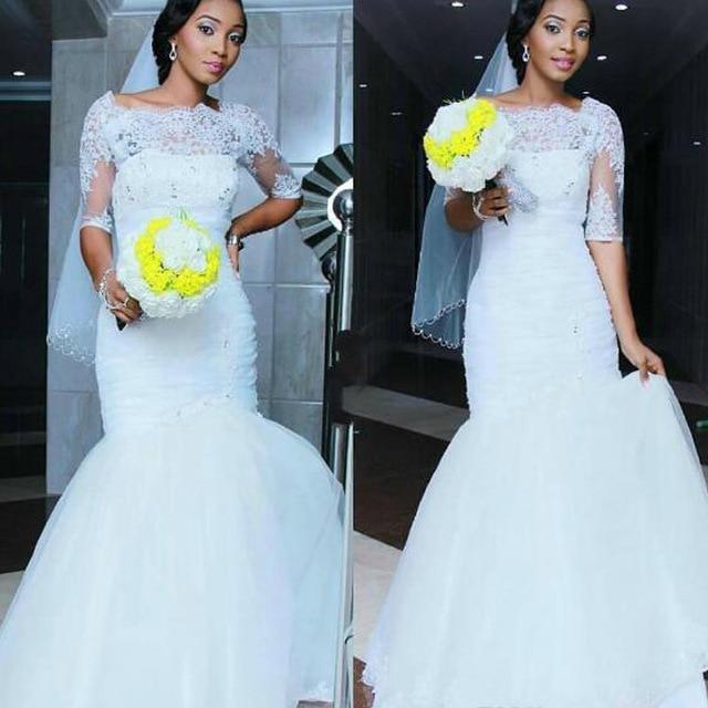 Luxury Lace Wedding Dresses Vintage Half Sleeve Mermaid Women Bridal ...