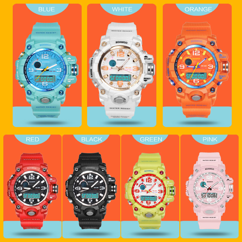 BOAMIGO Brand Children Sports Watches Girl Boy Teenage Kids Shock Watch Child Quarz Fashion Digital Swim Wrist Watch Waterproof
