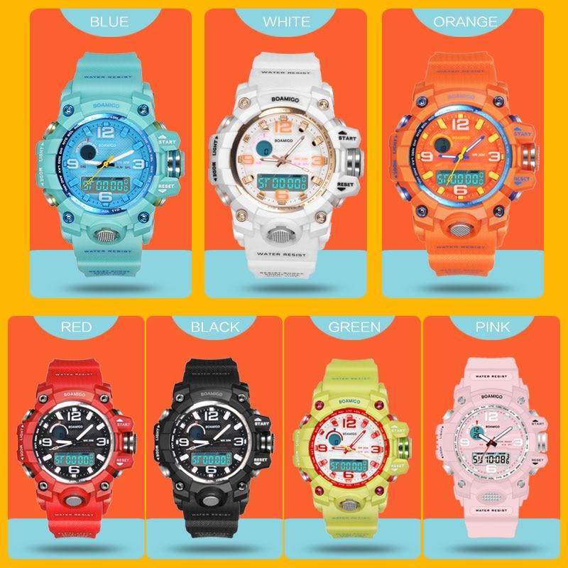BOAMIGO marka çocuk spor saatler kız erkek genç çocuklar şok izle çocuk quarz moda dijital yüzmek kol saati su geçirmez