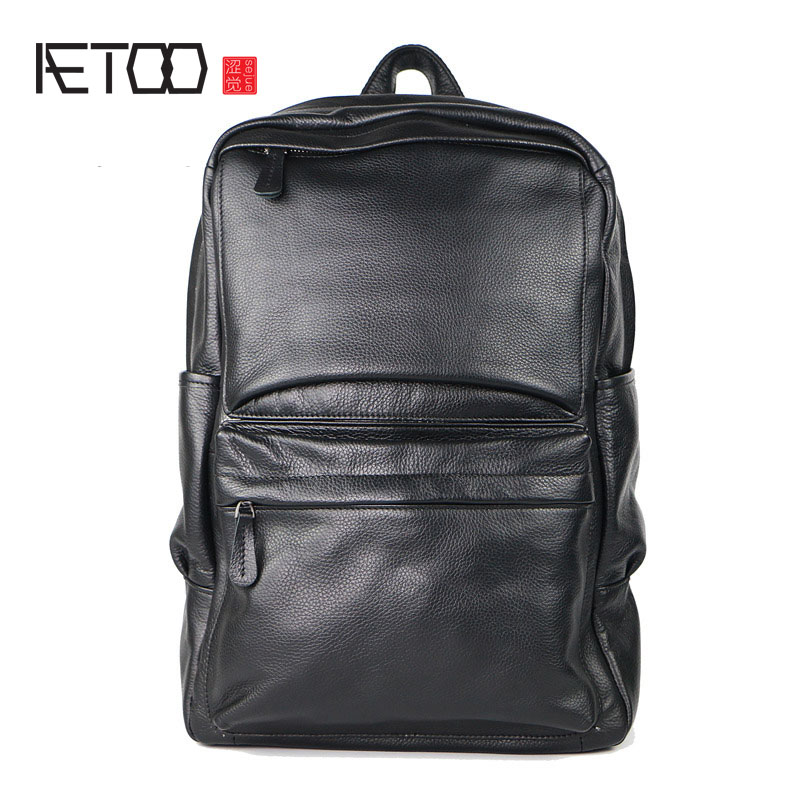 AETOO Shoulder Bag Men 's Head Cowhide Business Backpack Leather Student aetoo shoulder bag male leather backpack student bag fashion business computer bag head layer cowhide men and women backpack