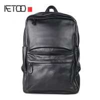 AETOO Shoulder Bag Men 's Head Cowhide Business Backpack Leather Student