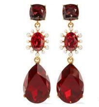CSxjd haute qualité cristal de luxe embelli perle percée oreille clip