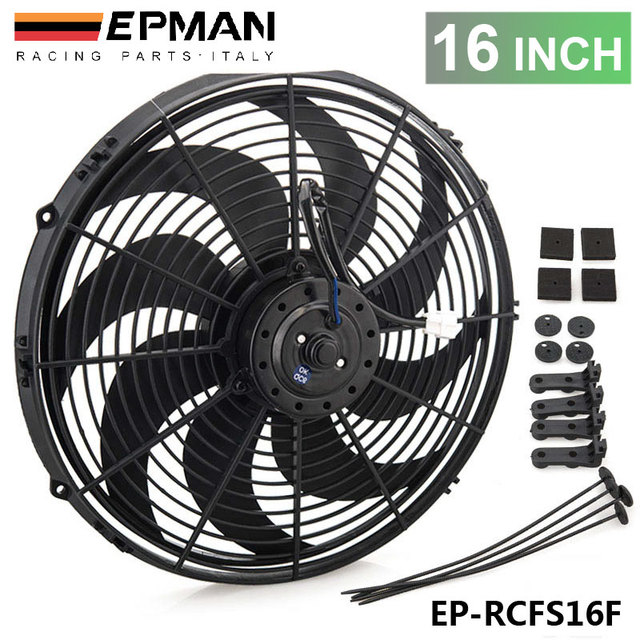 Epman Racing Car Universal 12v 16 Electric Fan Curved S Blades Radiator Cooling For