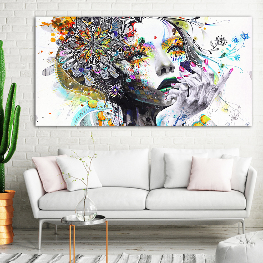 Big Size Modern Canvas Art Girl With FLowers Wall Pictures For Living Room Modular Pictures House Decoration Frameless