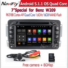 Android5.1.1 Quad core Car DVD Player for Benz W203 W208 W209 W210 W463 W163 W168 Viano GPS Navigation 1024*600 scree free ship