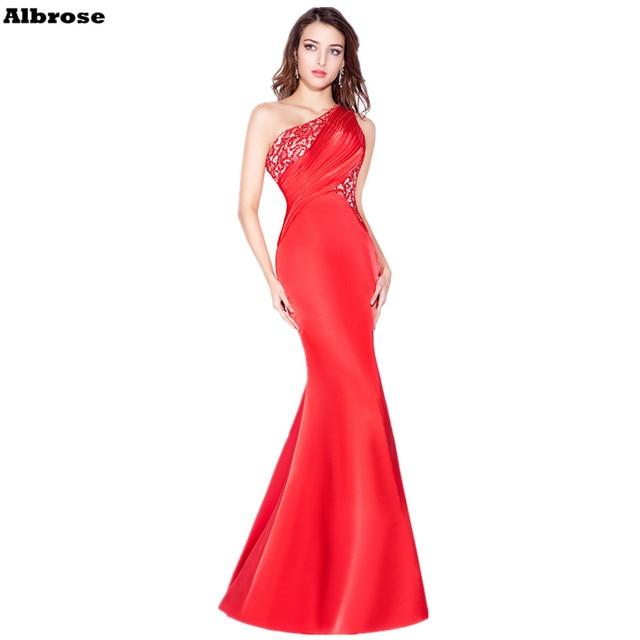 be5acca93b01 Bright Red Sexy Sirena Abito Da Sera In Pizzo Raso Una Spalla Abiti Da  Cerimonia Lunghi