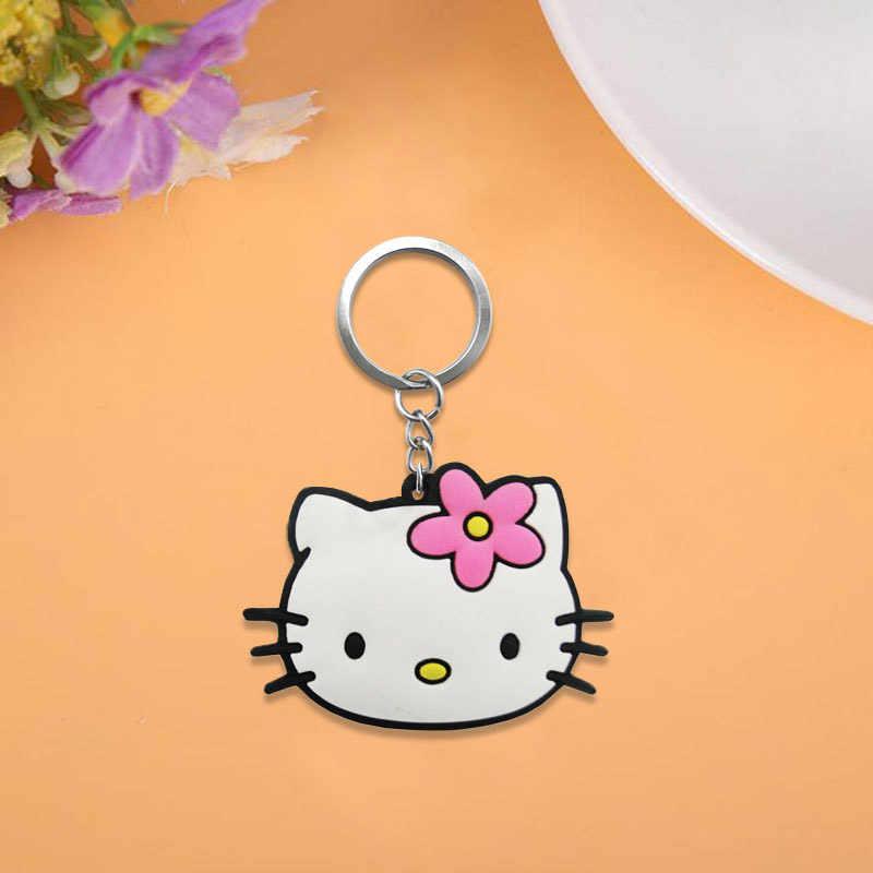 2 pçs/lote Olá Kitty Bonito Keychain Anel Chave Dos Desenhos Animados DO PVC Anime Figura Para Crianças Toy Pingente Chave Titular Moda Encantos bugiganga