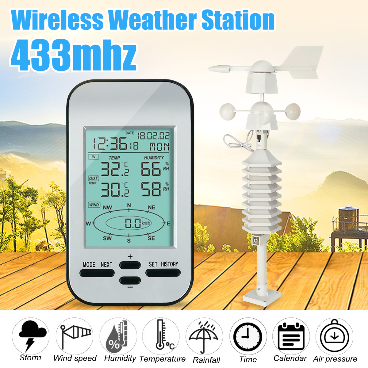 Professional Rf 433mhz Wireless Weather Station Clock