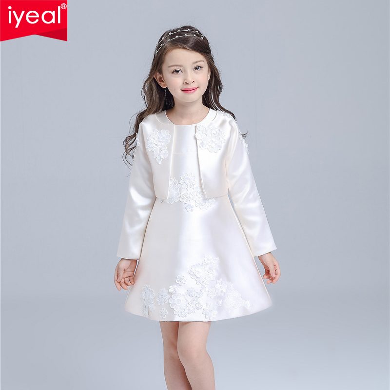 IYEAL Brand Newest Girl Dresses Winter 2016 High Quality O Neck A Line Dress With Long Sleeve Jacket for Princess Holiday Party