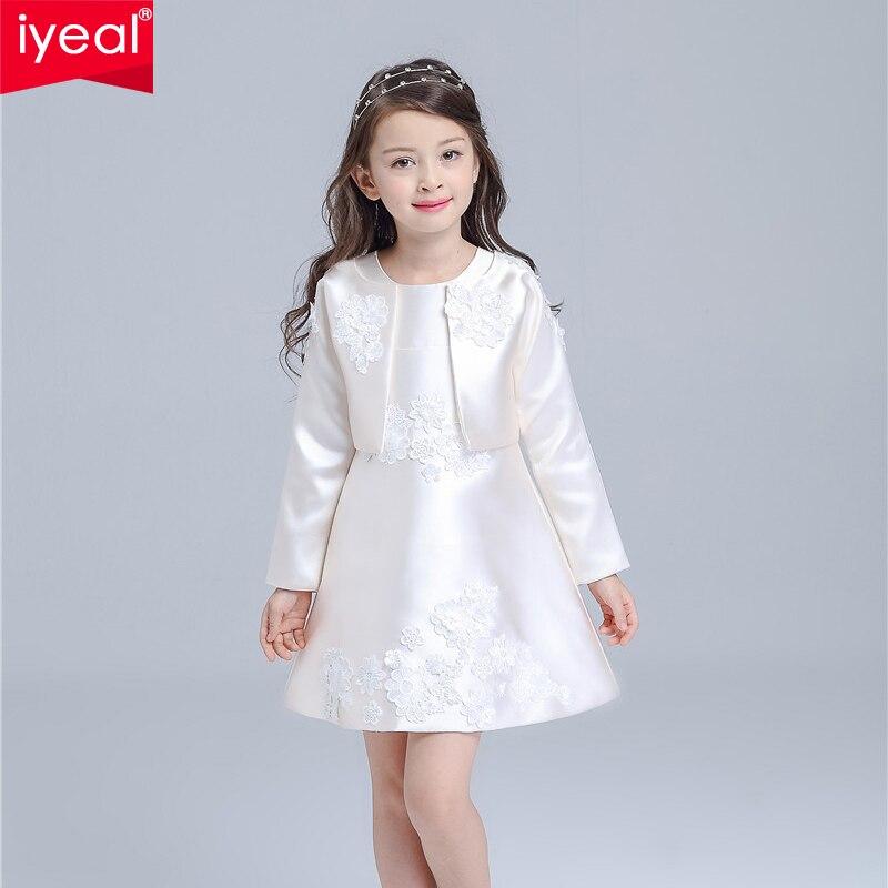5cc3f3e5a Iyeal marca novos vestidos da menina de inverno 2016 de alta qualidade o  pescoço um line vestido de noiva com jaqueta de manga longa para a princesa  partido ...