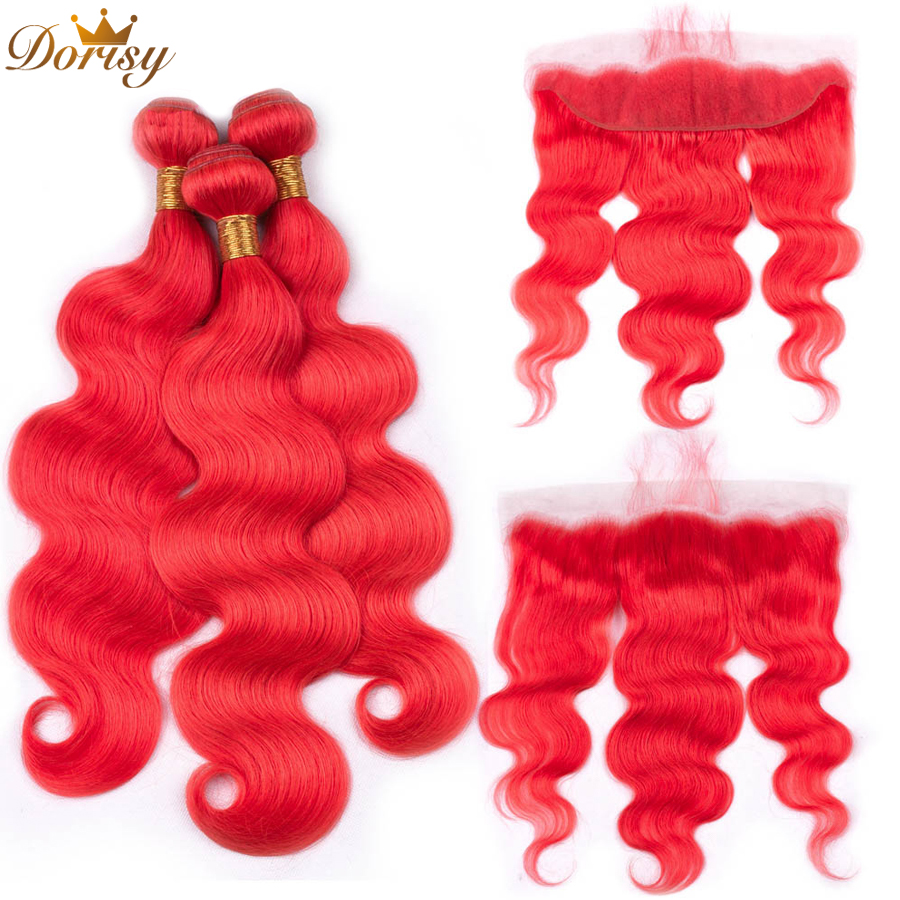 Pre Colored Red Bundles With Lace Frontal Closure Body Wave Remy Peruvian Human Hair Bundles With Lace Frontal 13*4 Inches
