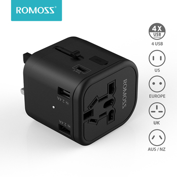 Romoss Travel Adapter International Universal Power Adapter All-in-one With 3 USB Worldwide Wall Charger For UK/EU/AU/Asia