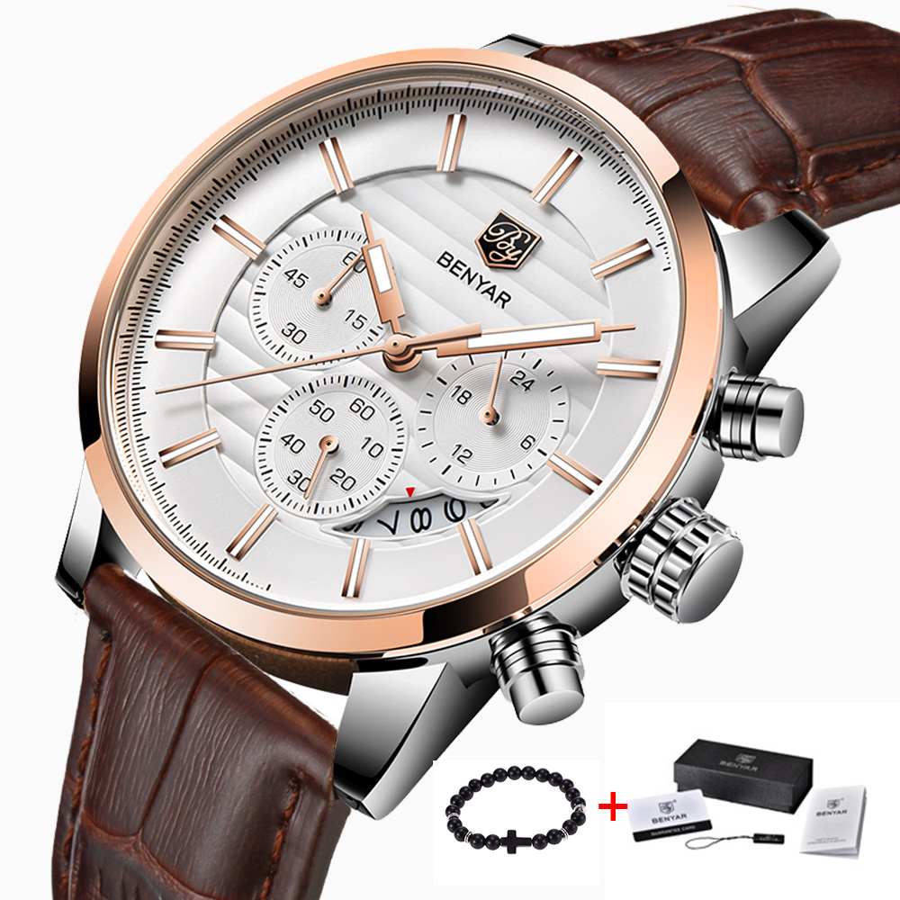 <font><b>BENYAR</b></font> Fashion Business Men Watches Brand Luxury Sport Chronograph Fashion Waterproof Quartz Wristwatch Male Clock relogio image