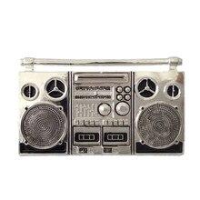 Покрытие серебряного цвета кассетный магнитофон ностальгия металлическая пряжка ремня панк винтажная Мужская большая пряжка для ремней аксессуары