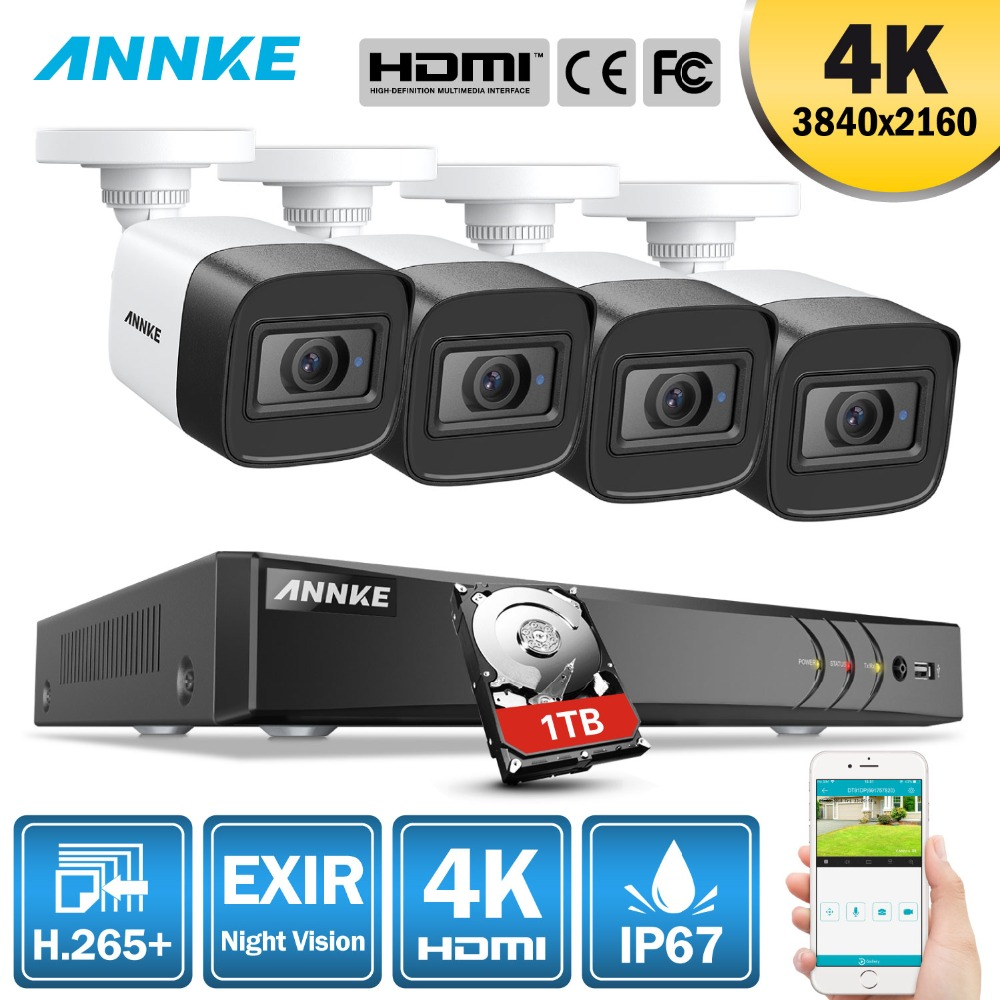 ANNKE 4K HD Ultra Clear Footage 8CH CCTV Security System 5MP 5in1 H.265+ DVR With 4 X 8MP Weatherproof Outdoor EXIR Night VisionANNKE 4K HD Ultra Clear Footage 8CH CCTV Security System 5MP 5in1 H.265+ DVR With 4 X 8MP Weatherproof Outdoor EXIR Night Vision