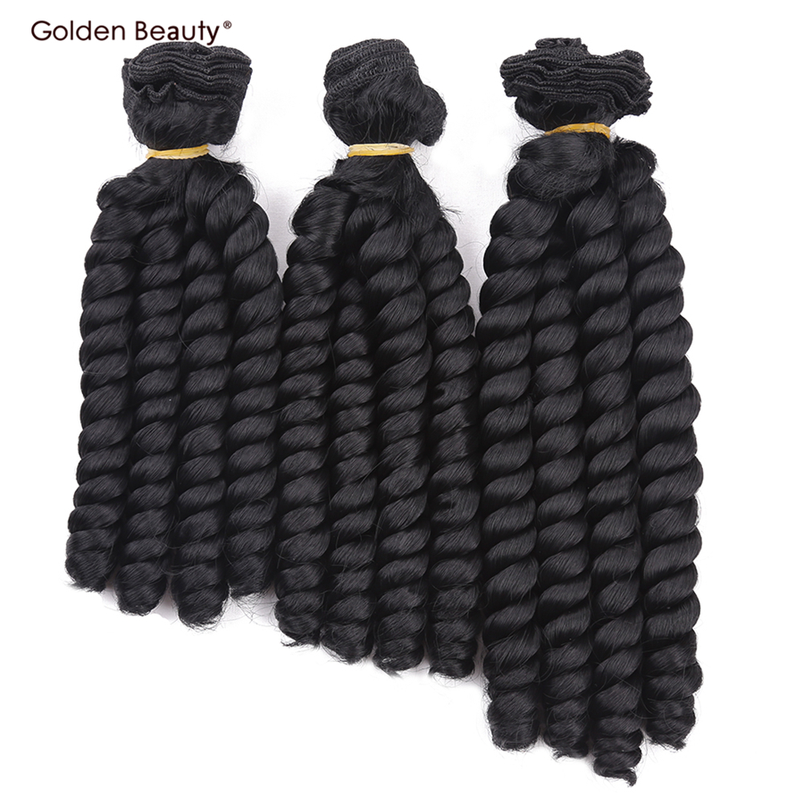 Weave Hair-Extensions Bundles Curly-Hair Heat-Resistant Bouncy Sew-In 8inch 3pcs/Pack