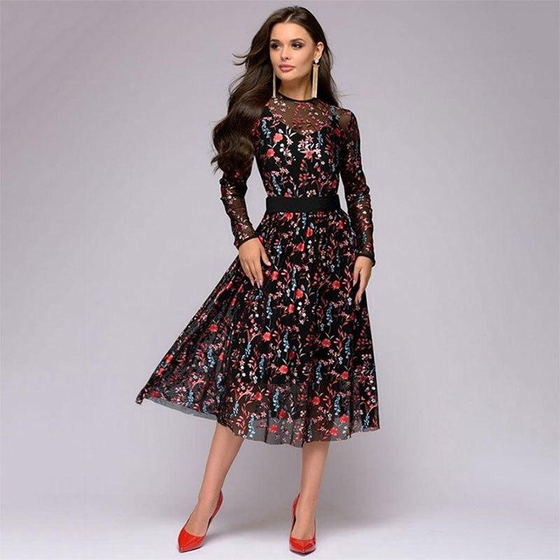 Largo impreso de malla negro vestido de las mujeres de manga larga Vintage  cinturón imperio vestidos otoño señoras moda vestido de fiesta 2019 46a304361ec1