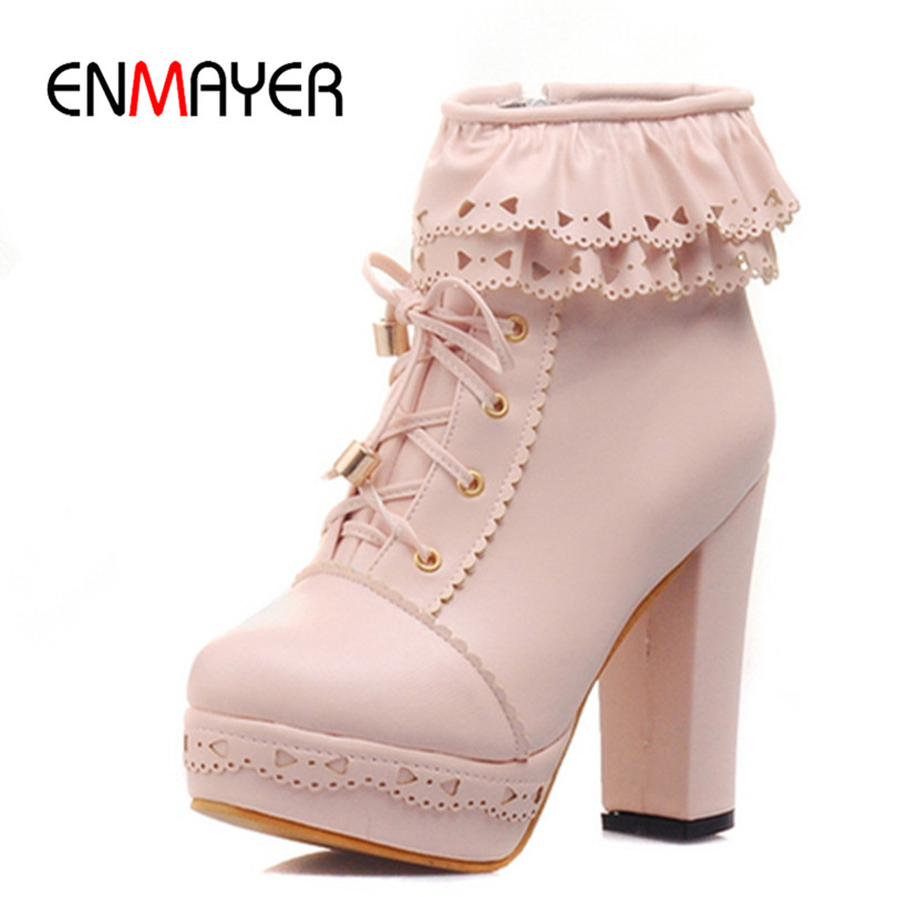 ENMAYER Motorcycle Fashion Boots New Round Toe Ankle Boots for Women Snow Platform Warm Women Boots