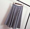 2015women de faldas de verano de europa franja alta de la cintura falda femenina faldas de moda casual dama Una Línea de mitad de la pantorrilla de la vendimia faldas 3