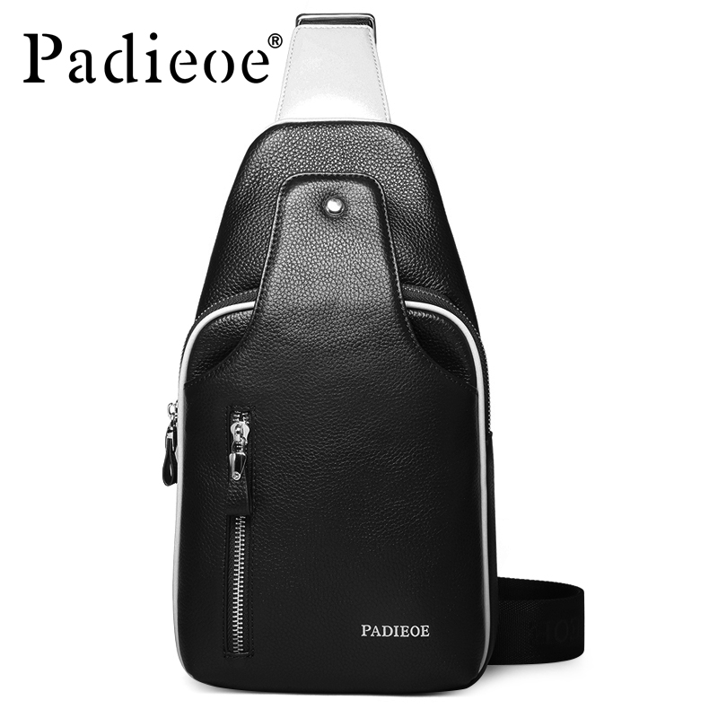 Padieoe Genuine Leather Crossbody Bag Brand Handbag Mens Shoulder Bags Travel Casual Chest Waist Pack Designer Men Messenger Bag bullcaptain new arrival men chest bag genuine leather men bag brand designer leather messenger bags casual mens crossbody bags