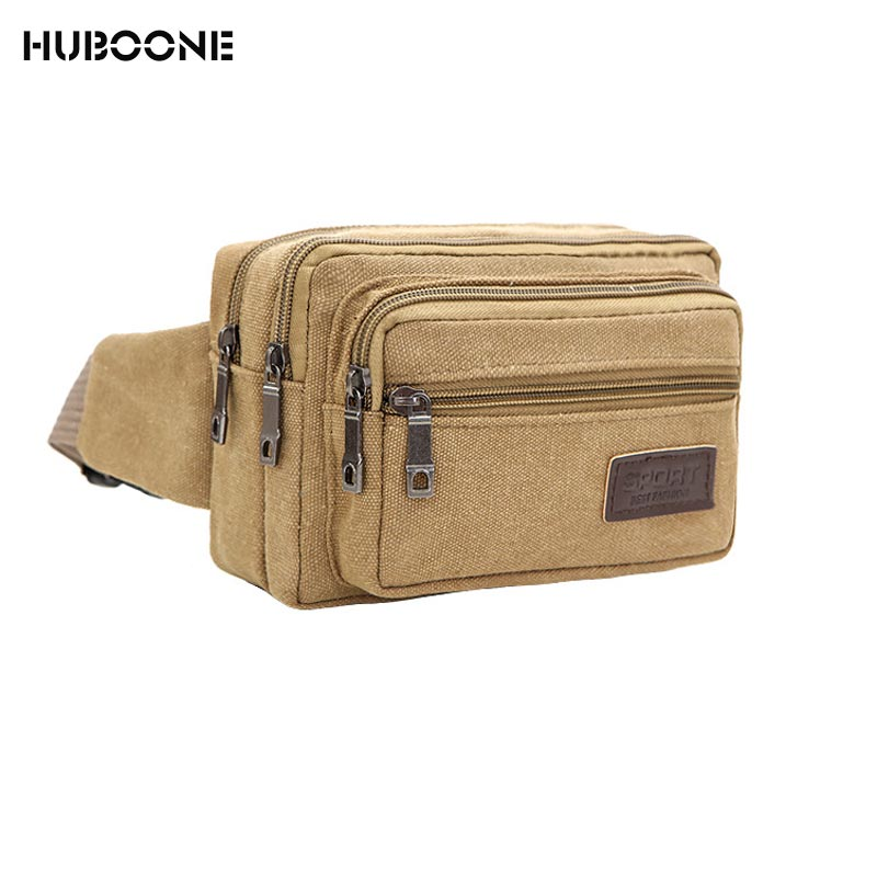 2018 Canvas Waist Bag For Men Casual Durable Fanny Pack Hip Bum Belt Bag Pouch Men's Waist Bag With 3 Zipper Sports Bag Heuptas
