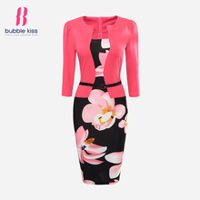 Office Dress Pencil Women Summer Bodycon Sexy Print Plus Size Floral Fake Two Piece Belt Casual Vestidos Bubblekiss Dress Robe