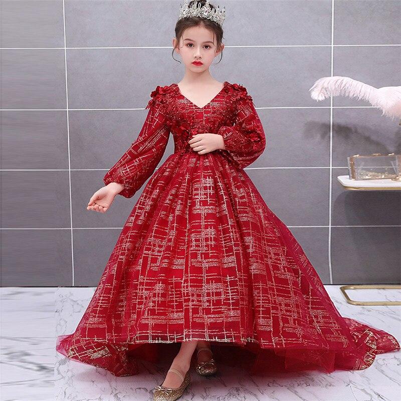 Niños Niñas de alto grado exquisito fiesta de noche modelo Show Walking Long Tail vestido niños lujo V Collar Host cumpleaños vestidos - 3
