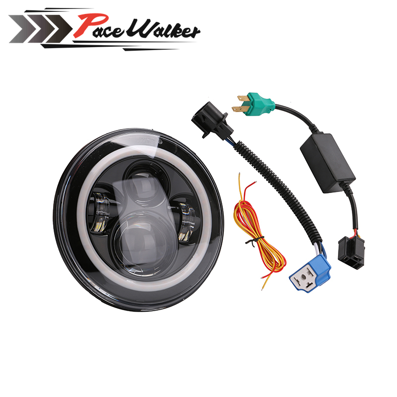 7 LED Motorcycle headlight H4 Headlamp With Angel Eye Wrangler For Sportsters XL XG XR VRSCD Dyna
