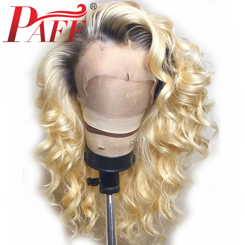 PAFF 613# Ombre Blonde Wigs 150% Density Curly Brazilian Remy Human Hair Full Lace Wigs Two Tone Full Lace Wigs with Dark Roots image