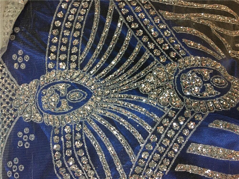 5 yards Argento postion incollato stampa glitter tulle africano India tessuto del vestito per il vestito da sposa/vestito da sera/partito-in Pizzo da Casa e giardino su  Gruppo 1