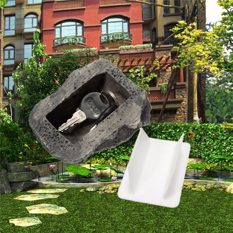 Outdoor Spare Key House Safe Hidden Hide Storage Security Rock Stone Case Box