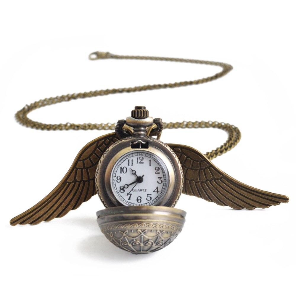 New Bo Shi Ya Spot Sweater Chain Bronze Harry Potter Wings Pocket Watch Casual Style Necklace Pocket Watch