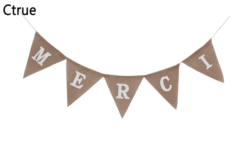 1set Vintage Hessian Burlap thank you Merci Banner Pennant Rustic Wedding Decoration Birthday Party Bunting Christmas new year in Banners Streamers Confetti from Home Garden