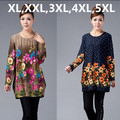 XL,XXL,3XL,4XL,5XL 2016 New Big Plus Size Winter Women Sweater Pullovers Print Casual Sweater woman tunic poncho vestidos ZJ3035