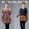 Xl, Xxl, 3xl, 4xl, 5XL 2016 nova Big Plus Size inverno camisola das mulheres Pullovers imprimir Casual camisola mulher túnica poncho vestidos ZJ3035