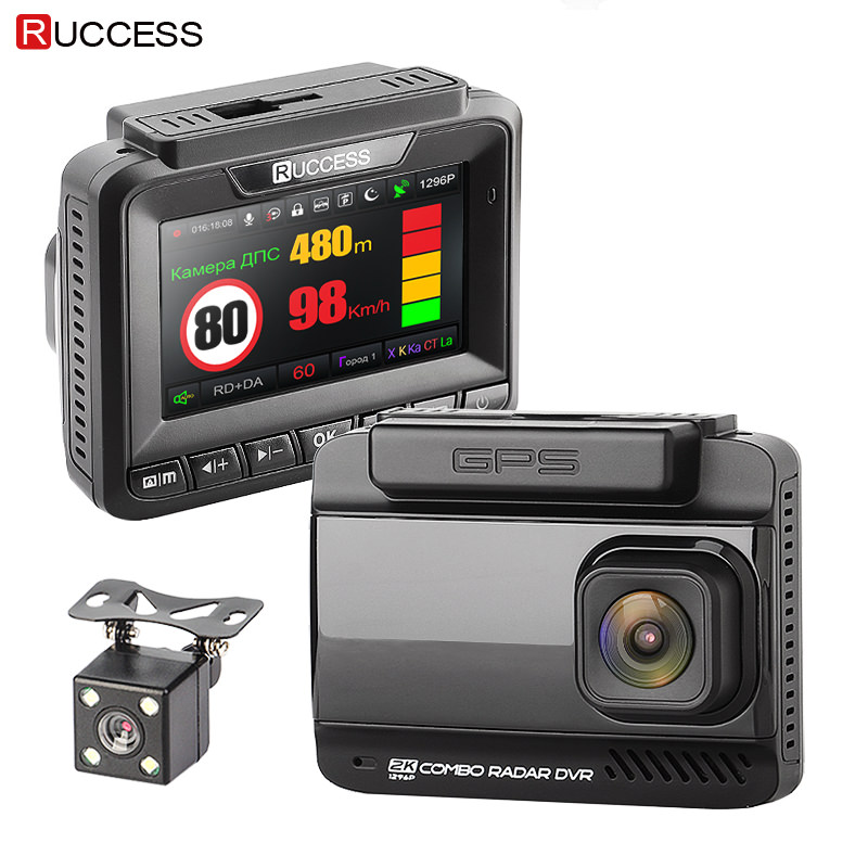 Ruccess Car DVRS 3 in 1 Radar Detector Dual Lens Full Hd 1080P Car DVR 1296P Car Camera GPS Video Recorder Anti Radar Dash cam цены онлайн