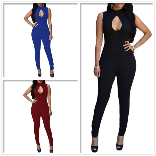 Women Turtle Neck Sleeveless Jumpsuit Hollow Out Playsuit