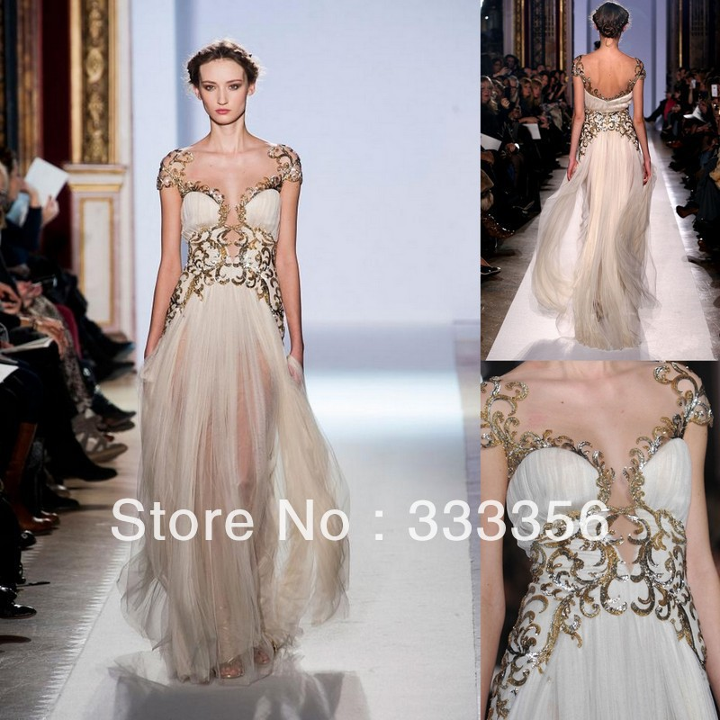 Latest Design Cap Sleeves Gold Appliqued Tulle Champagne Evening ...