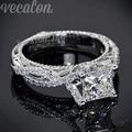 Vecalon 2016 Романтический Старинный Женский кольцо 2ct Имитация алмазный Cz Стерлингового Серебра 925 обручальное кольцо Обручальное кольцо для женщин